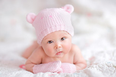 newborn baby girl in pink knitted bear hat (leanhtuce) Tags: life bear new pink portrait baby white cute girl beautiful beauty face hat childhood closeup female relax happy person one kid bed healthy eyes soft child basket teddy skin little sweet background small innocent daughter young adorable knit peaceful health human tiny blanket newborn innocence napping knitted lying pure caucasian russianfederation