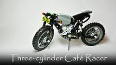 Three-cylinder Café Racer (hajdekr) Tags: café lego motorcycles motorbike technic moto motorcycle vehicle racer threecylinder