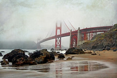 enveloping stoles of mist (1crzqbn) Tags: bridge mist seascape color wet reflections textures goldengatebridge 7d hss 1crzqbn envelopingstolesofmist marshallbeachsf