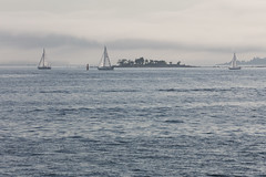 Misty evening sailing (Jukka M.) Tags: sea summer mist sailboat finland helsinki sailing lauttasaari