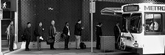 Get on The Bus (basselal) Tags: street city people bw bus monochrome sign downtown metro tx houston 400mm