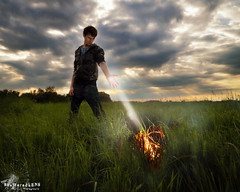 Firestarter (ShatteredLENS Photography) Tags: sunset selfportrait male guy me clouds self fire smoke meadow flame pyro