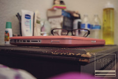 Pretty in Pink (Iqra.S) Tags: california monkey books specs waterbottle lotion sidetable 2014 studytable macboopro
