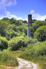 Tregargus Valley Vent chimney in colour (tincamera) Tags: china trees chimney sky overgrown stone vent cornwall path granite tregargus