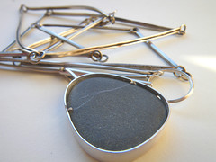 3xR week 24 (hybrid handmade (Cari-Jane Hakes)) Tags: silver recycled line chain route pebble journey pendant tab 3xr