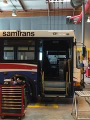 (LifestarFe) Tags: sf bus shop high lift floor garage north american maintenance base articulated industries nabi samtrans 60ft