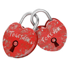two padlocks as concept for eternal love (Bob Renner 2012) Tags: red texture love heart lock grunge boyfriends couples objects valentine lovers together valentines forever concept padlock promise isolated eternal oath heartshaped holyday valentineday eternallove vow clippingpath togetherforever