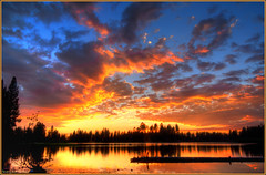 Manzanita Lake Sunset (ScottElliottSmithson) Tags: california sunset sun lake color nature canon spectacular eos nationalpark 7d serene nationalparks mountainlake lassenvolcanicnationalpark manzanitalake eos7d dtwpuck scottsmithson scottelliottsmithson