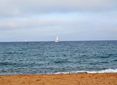 Barceloneta beach (zimonja) Tags: barcelona travel blue sea sky espaa naturaleza color beach nature beautiful azul clouds boat mar spain sand barca sailing bcn playa catalonia colores cielo barceloneta catalunya