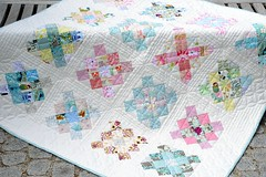 Granny square - the fourth finish of the year! Where are all my UFOs gone? (balu51) Tags: pink white green juni quilt squares turquoise teal sewing quilting scraps patchwork scrappy 2014 handquilted machinepieced lowvolume textprints grannysquarequilt stashsewing copyrightbybalu51 quiltstats madein2014