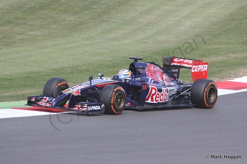 Jean-Eric Vergne in his Toro Rosso during Free Practice 1 at the 2014 British Grand Prix