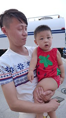 (taavivainola) Tags: china cute strawberry father son tianjin cornflowers strawberrycostume