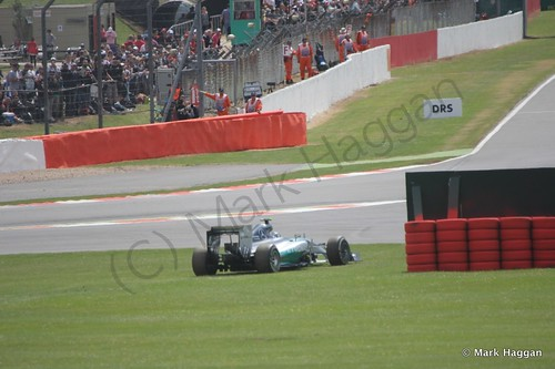 Nico Rosberg's car stops during the 2014 British Grand Prix