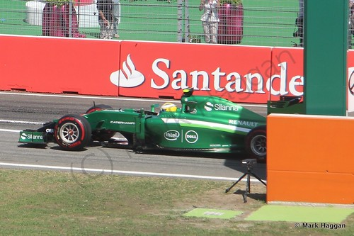 Marcus Ericsson in his Caterham during Free Practice 2 at the 2014 German Grand Prix