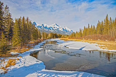 Bow River River in Alberta, Canada (Tony_Brasier) Tags: water river nikon d7200 1685mm snow cold sky mountains fishing green town canmore canada hdr