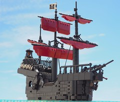 The Black Death (W. Navarre) Tags: lego black death ship sails sky ocean real prow high balustrade fore aft deck castle cannon