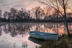 Stare Dam Sunrise (Katherine Fotheringham) Tags: stare dam scotland perthshire perth fishing boat mist sunrise trees water