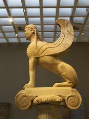 "Delphi, The Naxian Sphinx - I (egisto.sani) Tags: delfi museo sphinx sfinge ""naxian sphinx"" ""sfinge dei nassi"" ""high archaic"" ""proto arcaico"" style stile period periodo archaic arcaico arcaica greek greca arte art marble marmo relief rilievo "" siphnian treasury"" ""tesoro sinfi"" phocis focide delphi ""archaeological museum"" ""museo archeologico"""