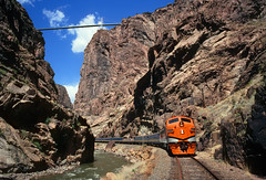 Royal Gorge Route (Moffat Road) Tags: canoncityandroyalgorge ccrg royalgorgerouterailroad emd f7 passengertrain touristtrain gorge canoncity colorado train railroad locomotive royalgorgebridge arkansasriver cliffs canyon bridge suspensionbridge co
