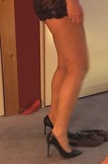 MyLeggyLady (MyLeggyLady) Tags: milf hotwife teasing albertozago nopanties lingerie stilettos pumps thighs cfm minidress sexy legs heels