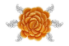 Week 12 - Artistic: Orange (Edible Flower) (Ben Aerssen) Tags: mandarin orange flower leaves flourish floral grey gray swirl artistic dogwood2017week12 dogwood2017 dogwood52 white stilllife vector art slices slice