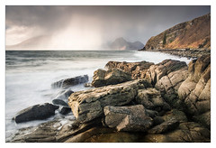 A Passing Storm (Dave Fieldhouse Photography) Tags: elgol ealaghol scotland high isleofskye skye tidal loch lochscavaig rocks longexposure hail hailstorm weather light march2017 fuji fujixt2 fujifilm waves beach seascape storm