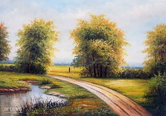 The Farm Trail, Art Painting / Oil Painting For Sale - Arteet™ (arteetgallery) Tags: arteet oil paintings canvas art artwork fine arts tree green nature landscape grass river water countryside season autumn sky reflection country outdoor landscapes pastorals forests flesh lime paint