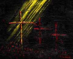 Easter bunny... or risen Saviour (Earl Reinink) Tags: painting acrylic acrylicpainting abstract easter christ saviour cross earl reinink earlreinink