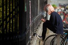 The break (boxxbeidl.de) Tags: 24hourscork cork corcaigh streetphotography break smoking phone coffee sitting women bicicyles