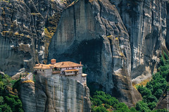 Meteora, Greece. Mountain scenery with Meteora rocks and Roussanou Monastery (bortnikau) Tags: greek religious orthodox place meteora church landmark landscape scenery monastery greece architecture summer cloister scenic religion convent rock mountain view countryside roussanou cliff heritage trikala abbey culture thessaly sunset kalambaka scene cloudscape travel panoramic historical day springtime historic color summertime massif trees mount people sun faith