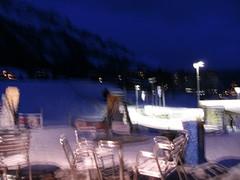 ...blue/bleu... ... (project:2501) Tags: wengen jungfrauregion suisse switzerland snow ski travel view town village glühwein bar table chairs dusk twilight twinkle fluorescentlight bluelight blue bluebleu bleu inthemountains mountains mountain