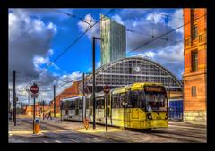 Manchester Tram (Kevin, Mr Manchester) Tags: building canon1855mm citycentre england englishpub hdr lancashire manchester northwest photoborder street track tramlines trams transport