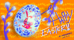 I wish you all very very happy Easter...! (Napochka Haruko ( in Japan )) Tags: easter egg happy rabbit hare digital decoration photoshop blue white pink orange leaf leaves flower flowers tulip