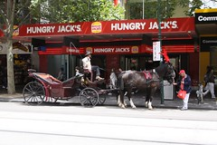 Horse drawn carriage at the arse end of Swanston Street, near Flinders Street (Marcus Wong from Geelong) Tags: piss shit stink smell odour horse drawn carriage touristtrap horsedrawncarriage melbourne melbournecbd