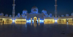 Mosque by night (minimi007) Tags: abudhabi blue dark night sheikhzayedgrandmosque unitedarabicemirates yellow