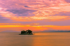 sunset 8977 (junjiaoyama) Tags: japan sunset sky light cloud weather landscape orange pink contrast colour bright lake island water nature spring