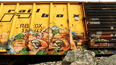 SIGH (BLACK VOMIT) Tags: car train graffiti ol box south dirty dos sigh boxcar freight