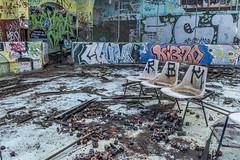 Abandoned Wheels (darkday.) Tags: urban abandoned danger graffiti dangerous chair decay wheels australia brisbane drain explore urbanexploration enjoy qld queensland exploration milf urbex abando skatearena