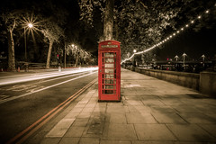 Lonely Phonebox (melfoody) Tags: city longexposure england urban london westminster night canon britain decay telephone wideangle f22 embankment phonebox lightstreaks 1740l 17mm