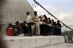 21-054 (ndpa / s. lundeen, archivist) Tags: nepal people color men film 35mm women 21 stupa buddhist nick pray praying barefoot kathmandu nepalese 1970s visitors 1972 katmandu boudhanath himalayas nepali pilgrims boudha dewolf worshipers bouddhanath nickdewolf buddhiststupa boudhanathstupa photographbynickdewolf baudhanath bauddha khāsti reel21 jyarungkhasyor hillyregion