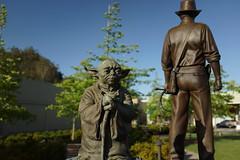 #Yoda & Indiana Jones statues in Imagination Park in San Anselmo #indianajones #georgelucas #lucasfilm #marin #sananselmo #starwars #park #imaginationpark #rx1 (Steve Rhodes) Tags: park starwars yoda marin lucasfilm indianajones georgelucas sananselmo rx1 imaginationpark