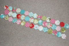 hello luscious hexagons (cuckoo blue) Tags: pink blue red green home girl grey reading handmade sewing moda charm pack quilting hexagons epp decor cushion basic handquilting englishpaperpiecing helloluscious