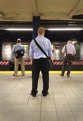 3 urban men (s5r5h) Tags: nyc newyorkcity brooklyn ginger waiting bald dailycommute cobblehill mta masstransit redhook b61 carrollgardens jaystreet ftrain boroughhall ctrain atrain saltandpepper downtownbrooklyn 3men subwayplatform stateofdress b54 messengerbags urbanfashion b57 b65 brooklynbus crossbag