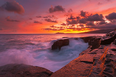 The Fire and Fury of China Walls (rayman102) Tags: sunset seascape landscape hawaii oahu coastal portlock chinawall watermotion chinawalls 5dmarkii