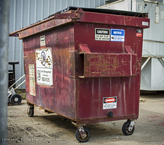 Waste Management (Thrash 'N' Trash Prodcutions) Tags: old school trash dumpster america garbage box burgundy maroon dump disposal wm container management rubbish waste refuse recycle wmx wmi