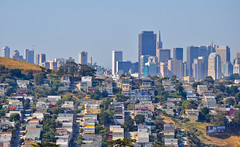hillside heat distortion (pbo31) Tags: sanfrancisco california city blue distortion color june skyline spring nikon rooftops over neighborhood heat bernalheights transamerica 2014 mclarenpark