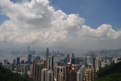 The Peak on a sunny day (Blandrea) Tags: city skyline clouds hongkong view skyscrapers peak victoria kowloon