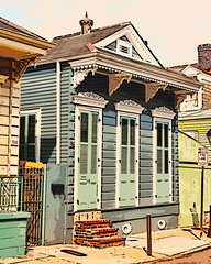 Digital Comic Drawing of a French Quarter Shotgun House in New Orleans by Charles W. Bailey, Jr. (Charles W. Bailey, Jr., Digital Artist) Tags: art photomanipulation photoshop louisiana comic drawing neworleans cartoon frenchquarter topaz shotgunhouse alienskin alienskinexposure topazadjust topazlenseffects charleswbaileyjr