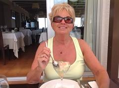 Gina enjoying cocktail de gambas (Ginas Pics) Tags: espaa smart lady mediterranean benidorm moraira ginaspics mediterraneanlandscape bestofspain kalorienbomber httpginanews05blogspotcom reginasiebrecht