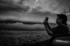 Portrait Among the Storm (Chains of Pace) Tags: blackandwhite storm oklahoma unitedstates candid prairie panhandle guymon shelfcloud